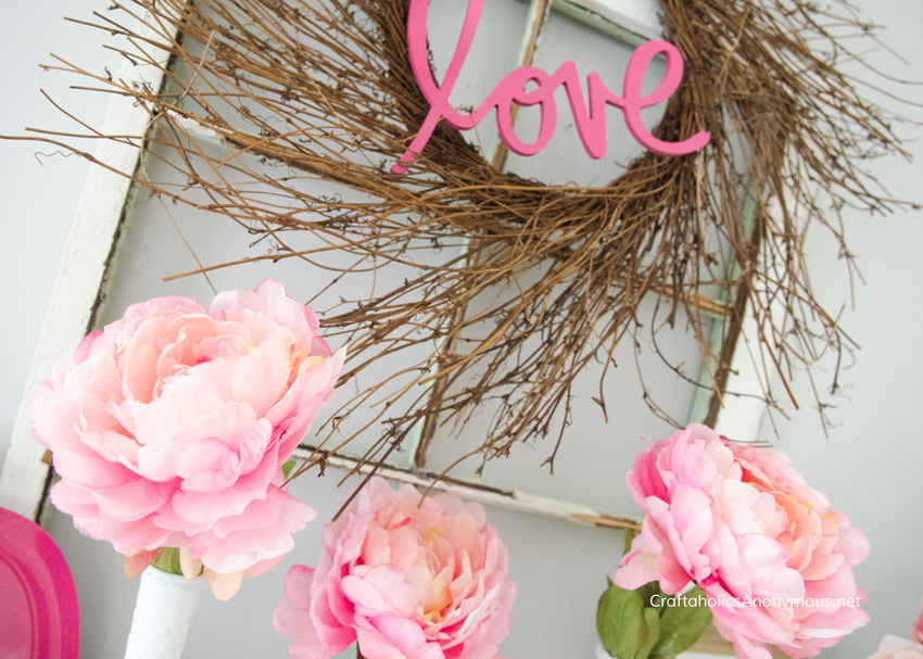DIY Valentine Wreath, Valentine mantel, and Valentine decor