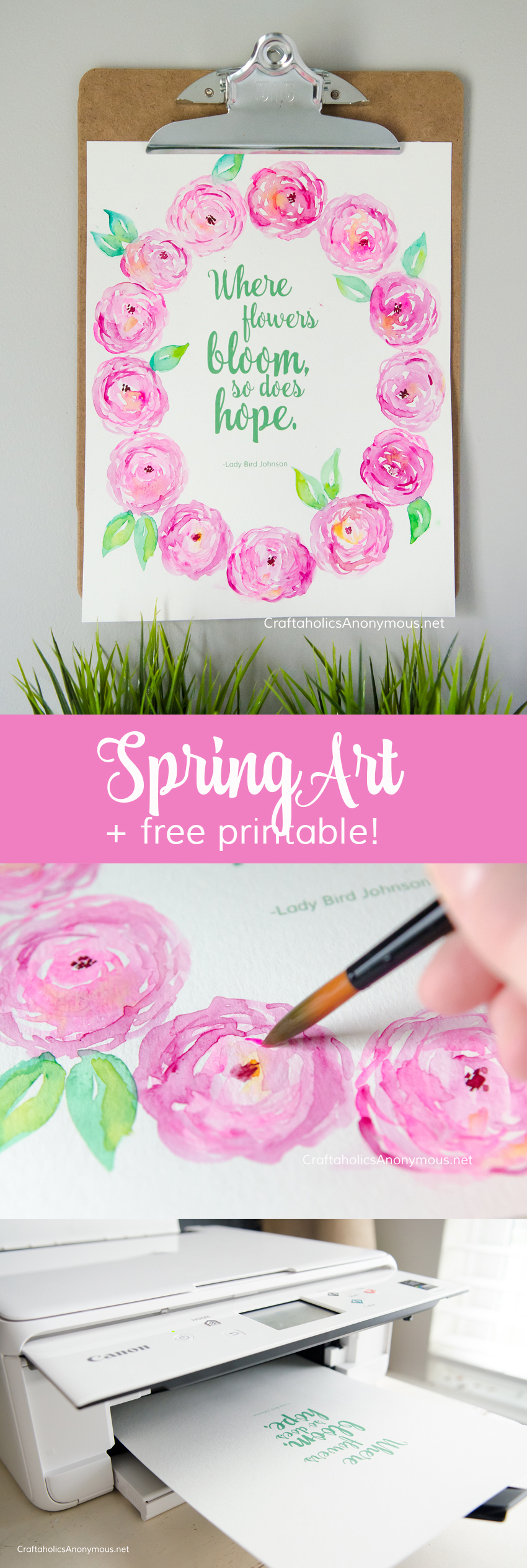 DIY Spring watercolor artwork :: Download the free printable then add watercolor flowers