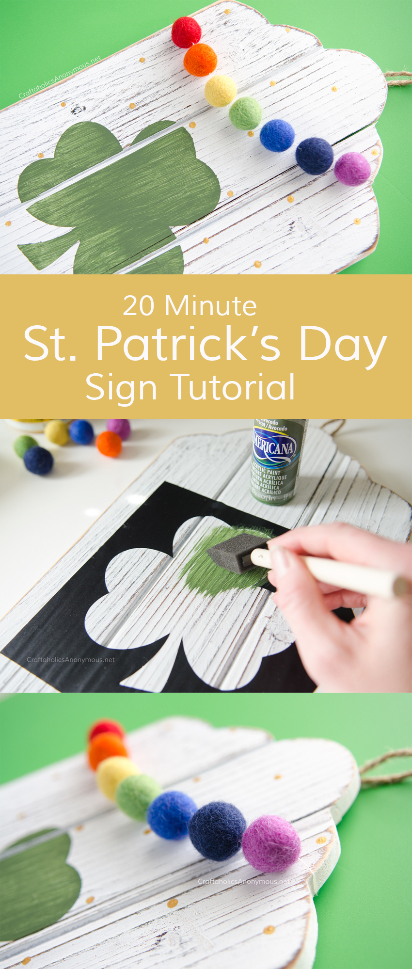DIY St Patrick's Day sign tutorial :: Easy craft idea decor