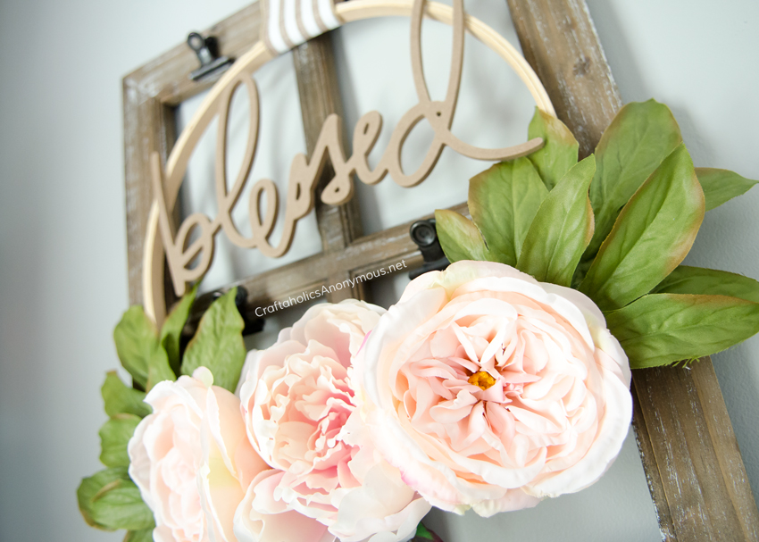 DIY Peonie wreath idea with embroidery hoop - blessed