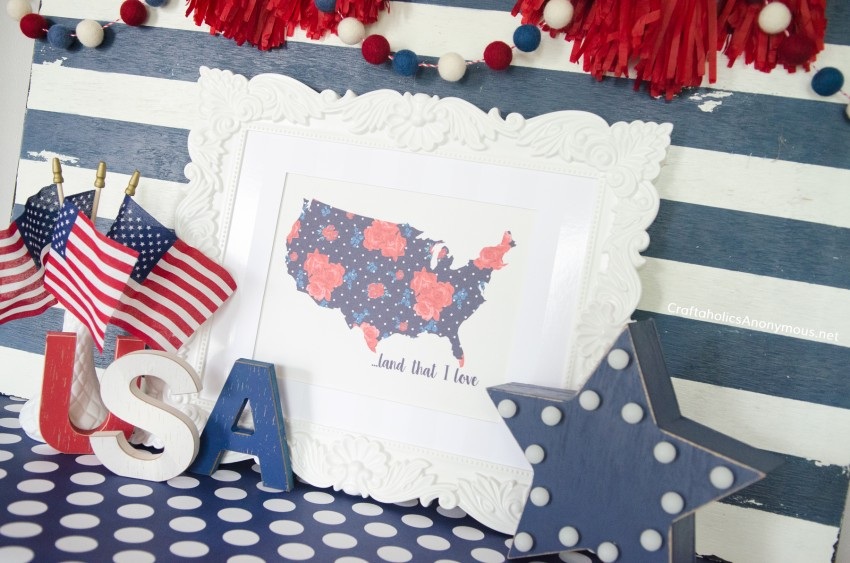 4th of July Decor and crafts - free printable