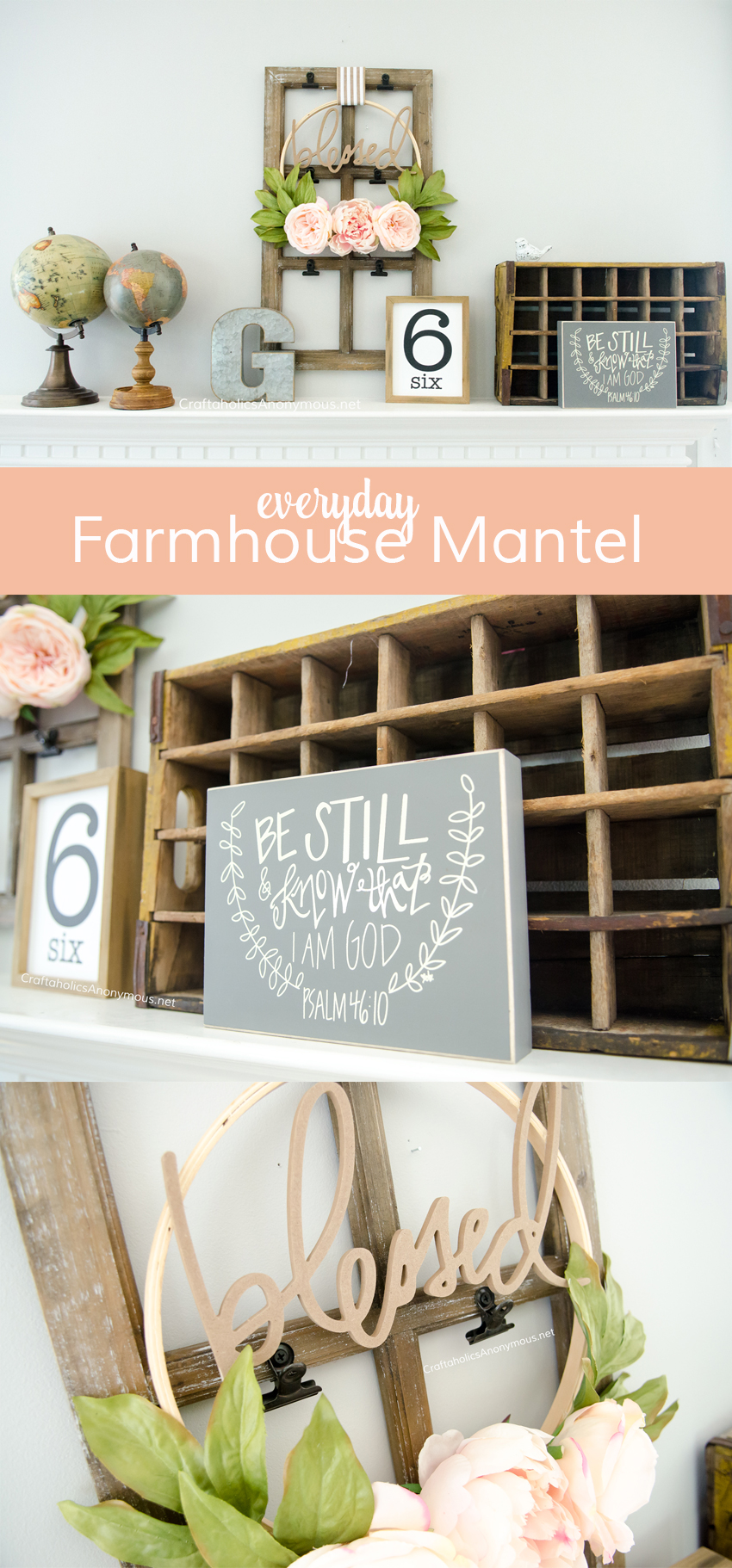 DIY Everyday Farmhouse mantel decor