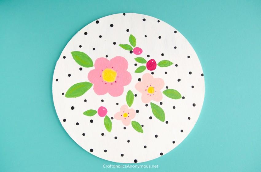 Florals and polka dots DIY painting craft