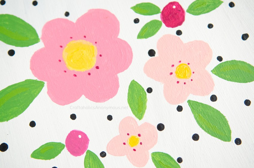 DIY Hand painted Flowers and Polka Dots craft