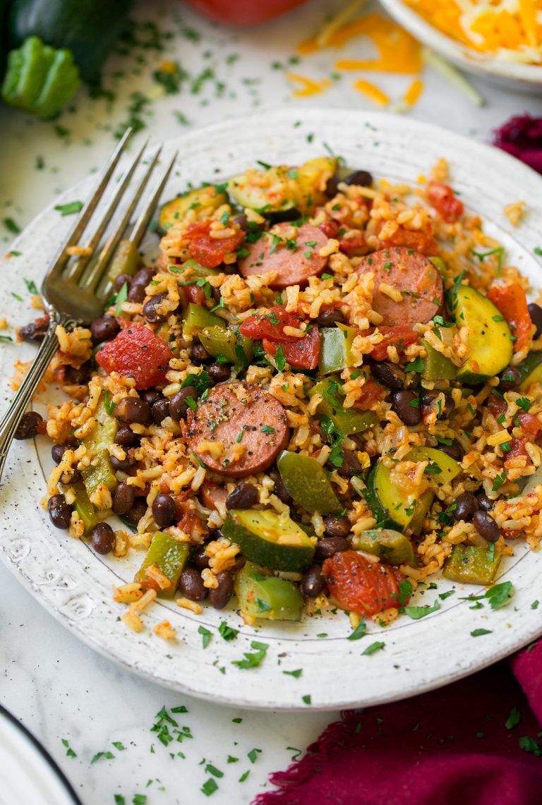 Sausage, Zucchini, and Brown Rice Skillet
