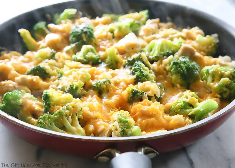 One Pan Cheesy Broccoli Rice & Chicken