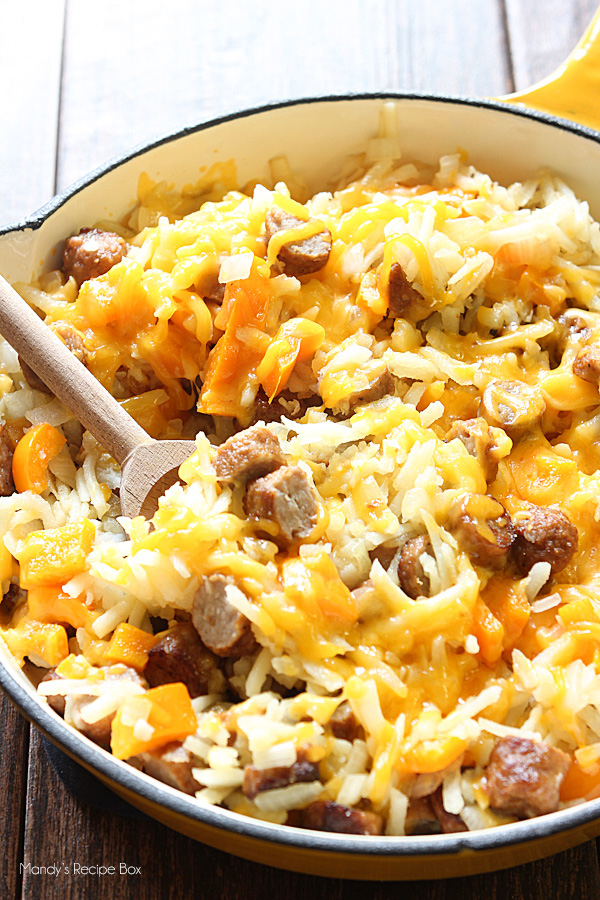Cheesy Hashbrown & Sausage Skillet