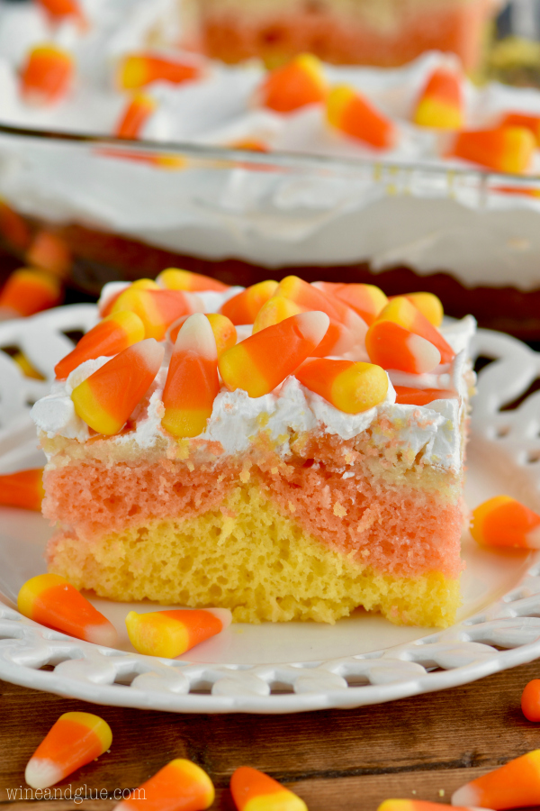 Candy Corn Poke Cake from Wine and Glue