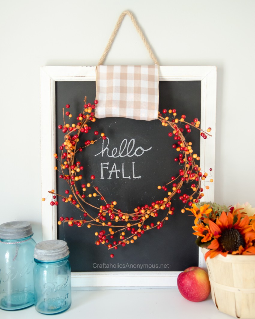 DIY Fall Decor :: Easy Fall Chalk art with berry wreath and gingham ribbon