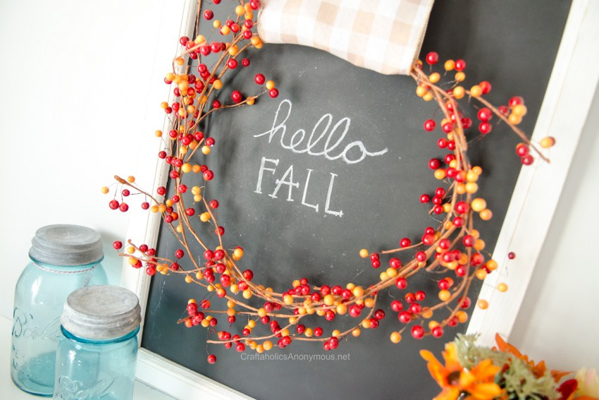 Fall Chalk Art DIY :: Love the berry wreath with gingham ribbon!