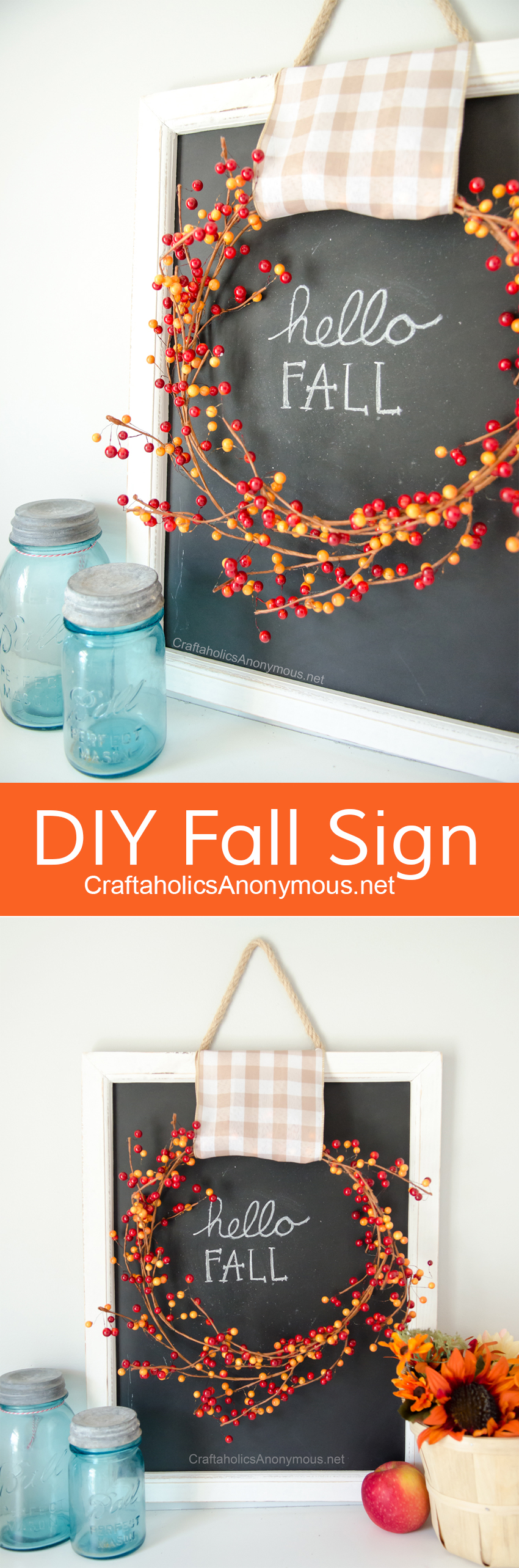 DIY Fall Sign :: Love the berry wreath with the gingham ribbon