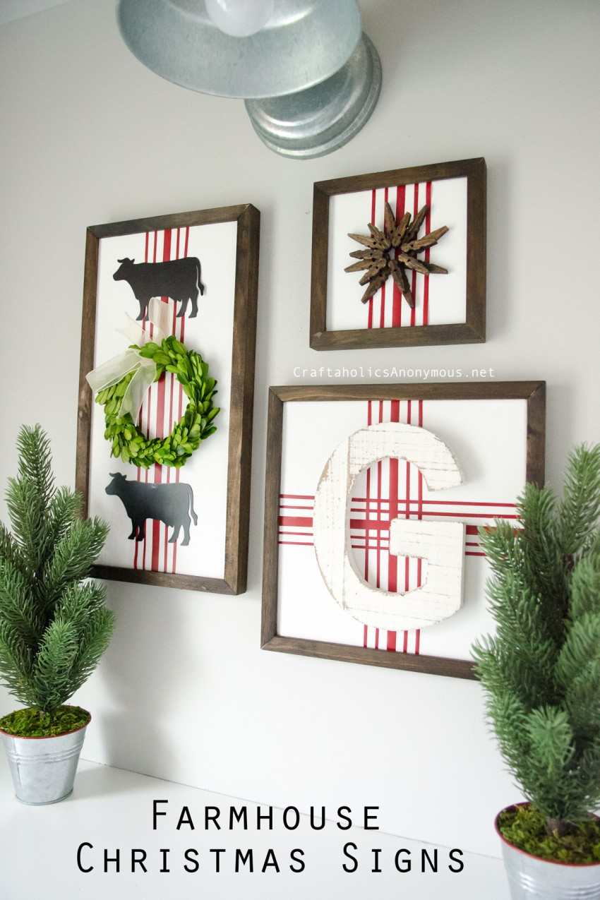 DIY Farmhouse Christmas Signs tutorial