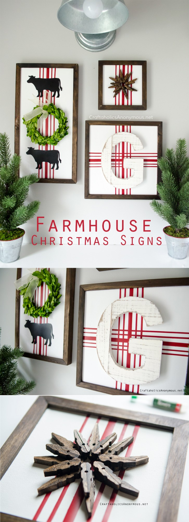 DIY Farmhouse Christmas Signs with boxwood wreath