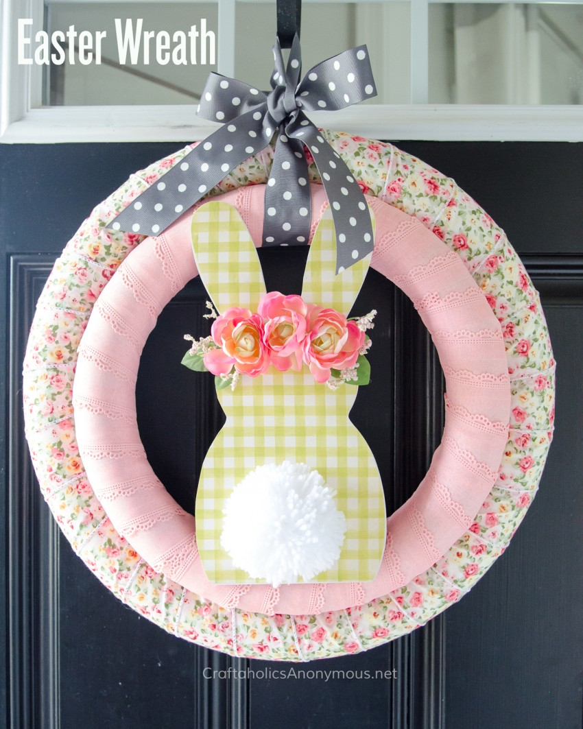 DIY Easter Bunny Wreath tutorial :: Pretty spring wreath idea!
