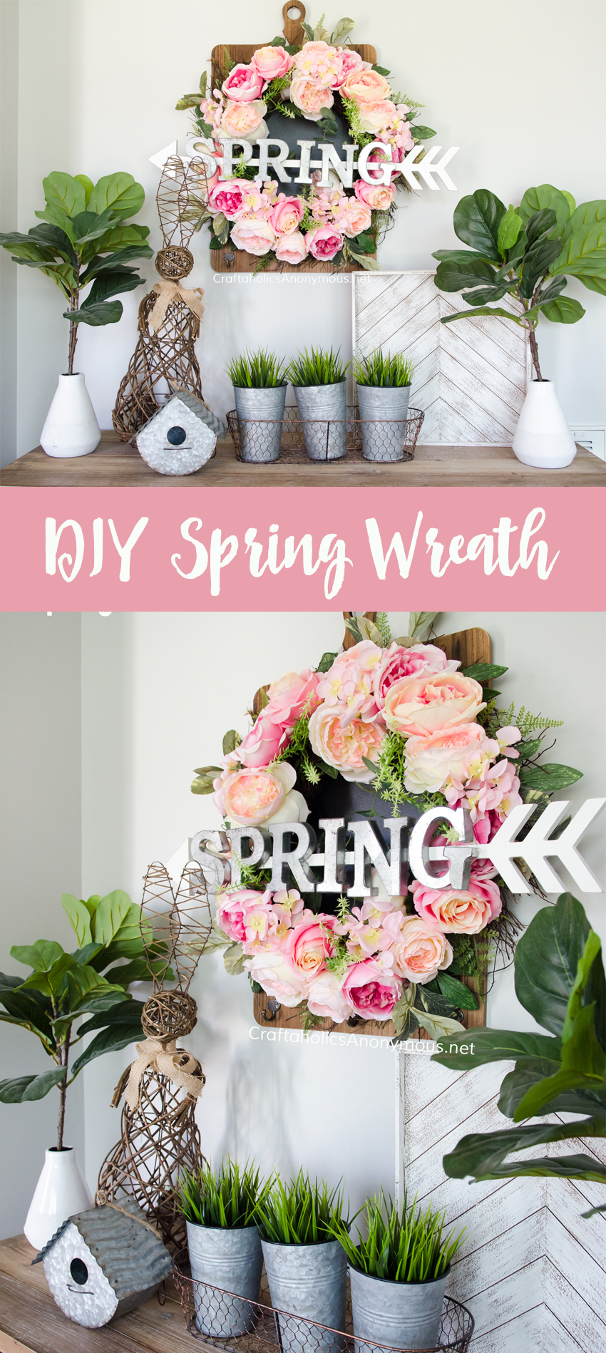 DIY Spring Wreath and Spring Decor vignette