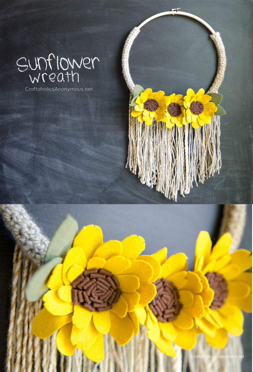 sunflower wreath collage