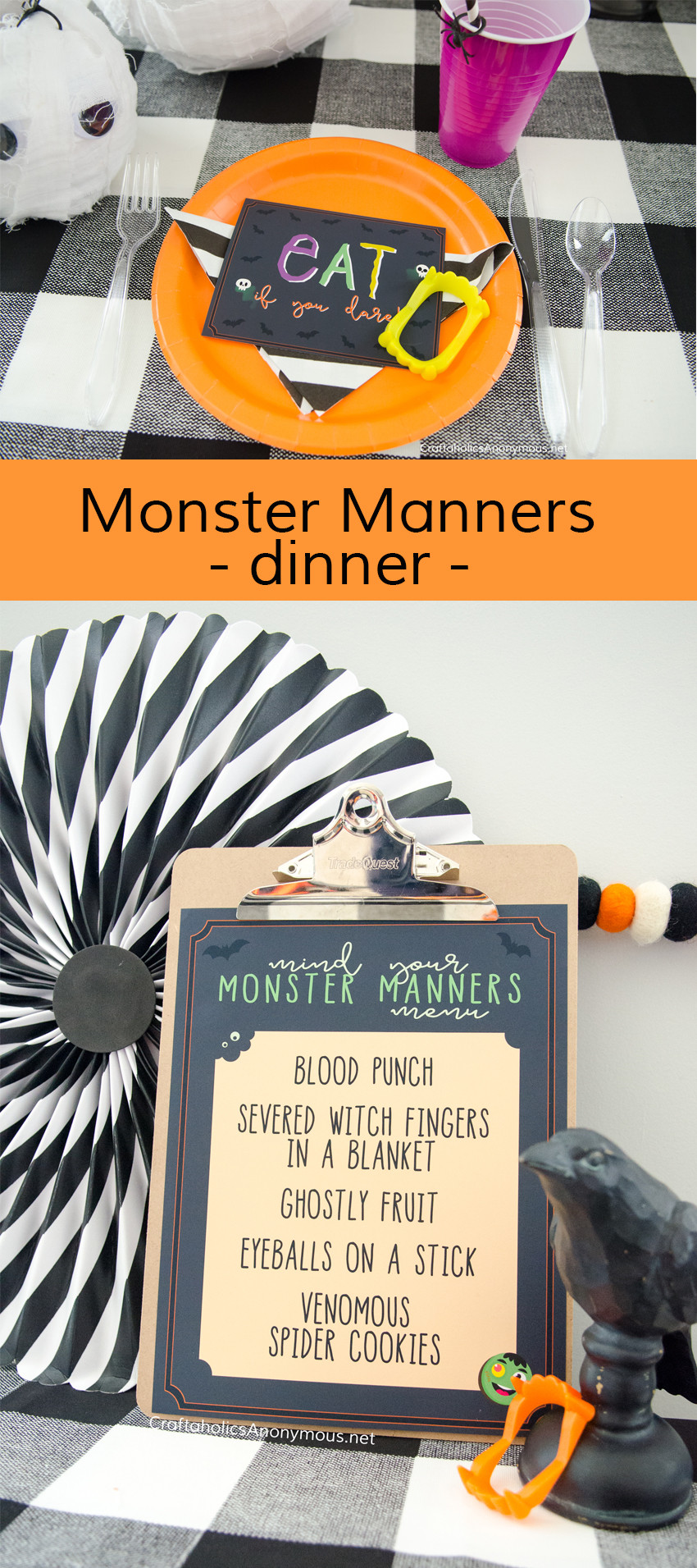 Halloween Monster Manners Dinner :: Great for Activity Days, youth, young women, fun halloween party idea! kids wear their costume to the dinner.