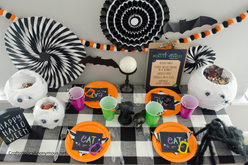 Halloween Monster Manners Dinner Party idea with Free Printables