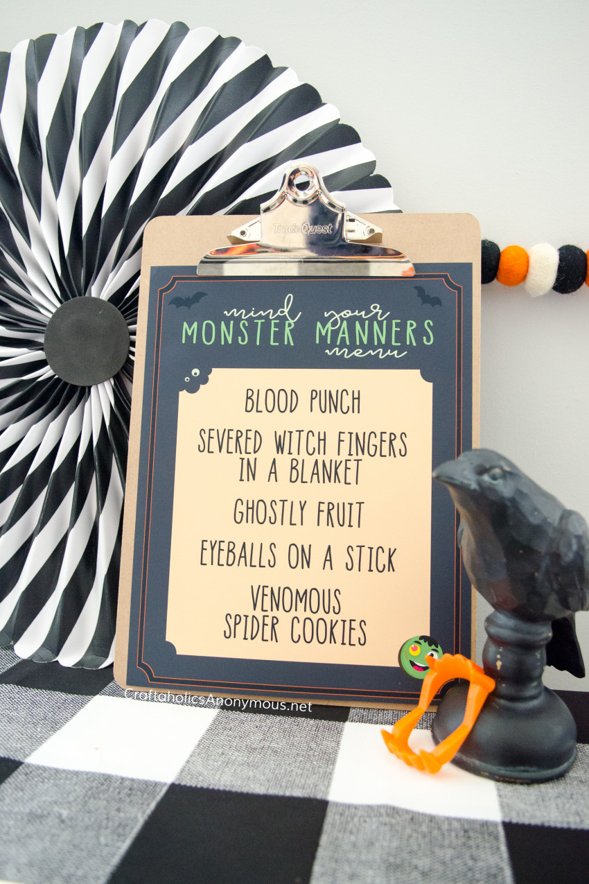 Halloween dinner menu :: Free Printables